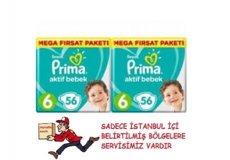 Prima Aktif Bebek 6 Numara Extra Large 56 Adet Süper Fırsat Paketi Bebek Bezi