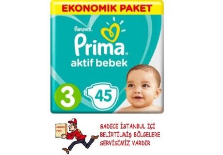 Prima Bebek Bezi Aktif Bebek 3 Beden 45 Adet Midi Ekonomik Paket