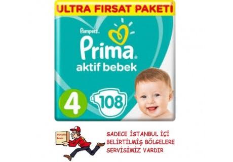 Prima Bebek Bezi Aktif Bebek 4 Beden 108 Adet Maxi Ultra Fırsat Paketi
