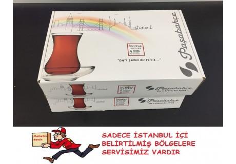 Paşabahçe İstanbul Çay Seti 6 Bardak 6 Tabak 12 Parça Set